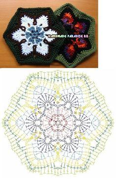 Schemes motifs for knitting crochet blankets Granny Square Crochet Pattern, Crochet Flower Patterns, Crochet Mandala, Crochet Diagram, Crochet Stitches Patterns, Crochet Squares, Granny Squares, Crochet Cord, Crochet Snowflakes