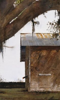 Southern Tobacco Barn by Dean Mitchell, watercolor painting, 15 x 9.