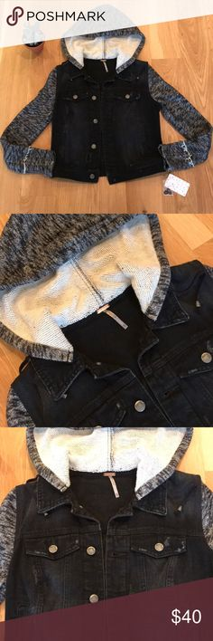 "NWT Free People Denim & Knit Jacket [Black Pumice] Free People denim & knit jacket [black pumice wash]  Distressed denim jacket with knit sleeves and removable hood with drawstrings. True Free People style. New with tags attached.  100% Cotton, machine washable Sleeves: 24"" Length: 19"" Free People Jackets & Coats Jean Jackets"