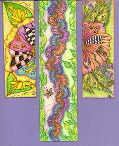 Have been doing bookmarks sinse last week end, easier to start & stop work on ... have so many projects going, my head is spinning! I've got such a baaaad case of cabin fever right now, if I don't stay busy every minute ... I might just scream! ... These were done with prisma markers & colored pencils ... I'm starting to do alot of bigger bookmarks which are perfect for tangle books & magazines ... these still have to be gilded, sealed in plastic & have eyelash yarn & beads &/or crystals…