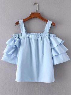 New Womens Solid Light Blue Ruffled Short Sleeve Pullover Shirt Blouse Tops SML Girls Fashion Clothes, Teen Fashion Outfits, Trendy Outfits, Kids Outfits, Kids Fashion, Summer Outfits, Cute Outfits, Crop Top Outfits, Mode Inspiration