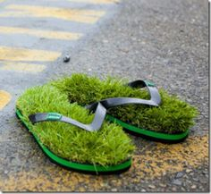 302b62f0a Grass Flip Flops Australian footwear company KUSA makes creative sandals  for people who love the feeling of walking barefoot on freshly mowed grass.