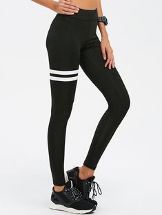 $11.99 for Skinny High Waist Gym Leggings BLACK: Active Bottoms | ZAFUL