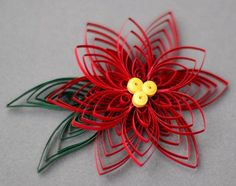 Quilled Paper Art Handmade Poinsettia Flower Christmas Ornament or Decoration - Paper Origami 💡 Paper Towel Roll Crafts, Toilet Paper Roll Art, Rolled Paper Art, Toilet Paper Roll Crafts, Paper Christmas Ornaments, Quilling Christmas, Christmas Crafts, Paper Quilling Designs, Quilling Paper Craft
