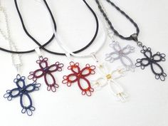 Custom color Tatted Cross jewelry with glass by SnappyTatter, $10.50