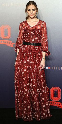 Last Night's Look: Love It or Leave It? | OLIVIA PALERMO | in a belted star-print Hilfiger Collection maxidress at the Tommy Hilfger 30th anniversary party in Beijing.
