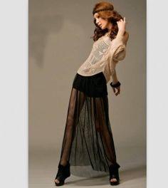 Long Skirt Black Sheer Maxi Skirt, Maxi Skirts, Gauze Dress, Black Pants, Vintage Ladies, Harem Pants, Ballet Skirt, Unique, Beautiful