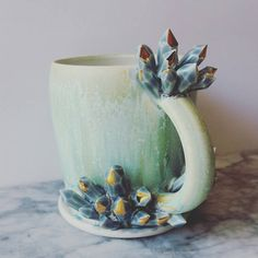 READY TO SHIP Sculpted Crystal Mug by SilverLiningCeramics on Etsy