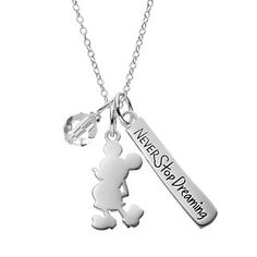 Disney's Mickey Mouse Sterling Silver Charm Pendant Necklace - Made with Swarovski Crystals