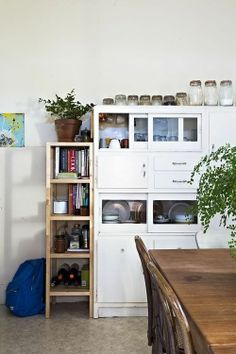 Storage and sleek wooden shelves