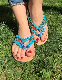 Greek Sandals Made in Greece Leather Sandals Pom pom
