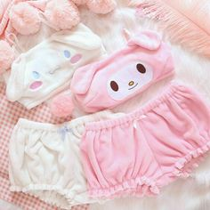 OJBK Pink And White Kwaii Velvet Tube Top And Panties Set For Girls Adorable Underwear Anime Long Ear Doggy Bra and bloomers Jolie Lingerie, Lingerie Set, Girl Outfits, Cute Outfits, Fashion Outfits, Kawaii Bunny, Kawaii Girl, Kawaii Room, Bandeau Bra