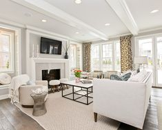A light grey and white transitional living room with white cocktail table, sofa with nailhead trim, white armchairs and a tv over the fireplace