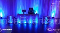 DJ Sound Station with awesome uplighting & sheers by GrooveEvents.us