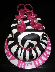 Hot Pink Zebra Bling Zebra print cake with hot pink details and high heeled shoe accents (not edible). Cake is strawberry cheesecake cake. Pretty Cakes, Cute Cakes, Yummy Cakes, Strawberry Cheesecake Cake, Zebra Print Cakes, Happy Birthday, Birthday Cake, Fruit Salsa, Best Fruits