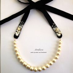 cotton & pearl necklace