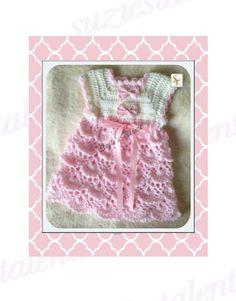 PRODEJ - 0-12 měsíce, háčkování šaty baby, baby zdobit vzor, Dětská zelené šaty, Ruční baby zdobit vzor.  PT071