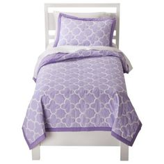Circo® Quatrefoil Quilt Set - Purple. We bought the plain purple quilt tonight but now I'm seeing this and I love it!