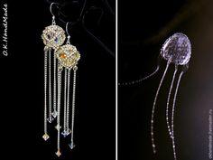Рады представить наш мастер-класс, на котором мы с вами будем создавать серьги-медузки 'Ируканджи' в технике плетения бисером, с использованием кристаллов Сваровски.Начнём с самого интересного! Кто же это такие — медузы ируканджи? Ируканджи — это очень милые, почти прозрачные медузы, маленького размера, купол не больше 3 см, с четырьмя длинными тонкими щупальцами, порой достигающих 1 метра.