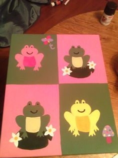 Pink Green and Yellow Frog Handpainted Wall Art  by alliegirl97, $35.00