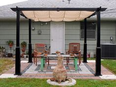 budget patio ideas this little patio set up highlights features like a pergola some - Easy Patio Cover Ideas