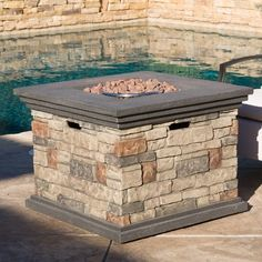 Great for Herefordshire Polyresin Propane Fire Pit Table by Freeport Park Patio Garden Furniture from top store Propane Fire Pit Table, Fire Table, Propane Fireplace, Fireplace Heater, Fire Pit Materials, Square Fire Pit, Fire Pit Furniture, Outdoor Furniture, Wood Burning Fire Pit