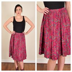 vintage // pink paisley HIGH WAIST skirt // by CharleensCloset, $19.99