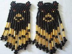 bear earrings, Red Princess Beadwork