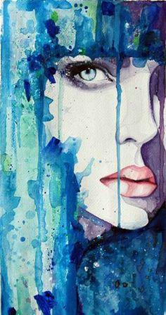 via: mocabrirbonmade, booooooom watercolor blue woman color female beauty