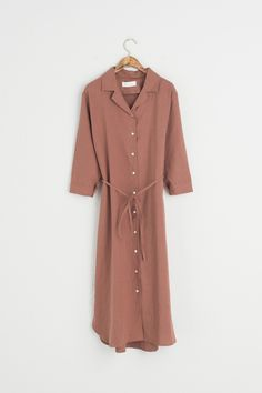 Olive - V Neck Linen Shirt Dress, Brown, £59.00 (https://www.oliveclothing.com/p-oliveunique-20170613-004-brown-v-neck-linen-shirt-dress-brown)