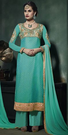 USD 38.20 Turquoise Georgette Palazzo Suit 47101