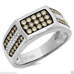Mens 087 CT 14K White Gold Champagne Diamond Cocktail Ring Band SageDesigns