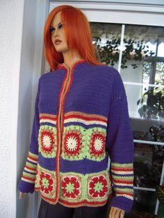 Handmade crochet ethnic kimonogranny square  kimono by GoldenYarn, $399.00