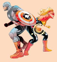 Captain America and Captain Marvel