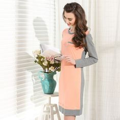 Find More Nightgowns & Sleepshirts Information about Promotion sale bamboo fiber Pijama women Spring & Autumn Long sleeve nightgown Ladies plus size cotton bathrobes Splicing style,High Quality bathrobe baby,China bathrobe fabric Suppliers, Cheap bathrobe manufacturers from Hope&Miles on Aliexpress.com