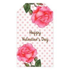 Watercolor Pink Rose Polka Dot Valentines Day Gift Tags - flowers floral flower design unique style