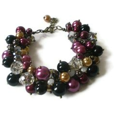 pearl cluster bracelet, crystal rondelles, antique brass, boho chic, beaded, vintage style. £17.00, via Etsy.