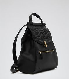 Reiss Alto Women's Black Quilted Leather Rucksack
