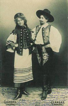 Magyar fashion from Hungary. Folk Fashion, Ethnic Fashion, Vintage Photographs, Vintage Images, Folk Costume, Costumes, Civil War Fashion, European Dress, Folk Dance
