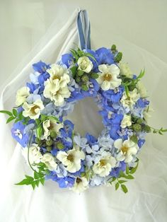 blue wreath bouquet