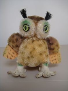 In my #ETSY Shop: #Steiff Vintage Wittie #Owl - 10 cm - 1954 to 1976 - 4 Inches Tall - Jointed Head - So Sweet