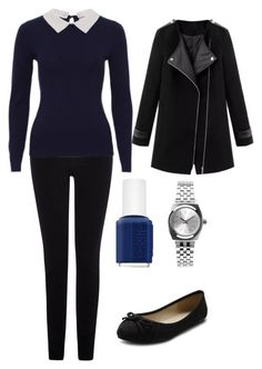 """Navy and black workwear"" by lewiskate-1 on Polyvore featuring Warehouse, Ollio, Nixon and Essie"