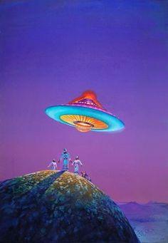 Bruce Pennington - Cover illustration for the book Cults of Unreason by Christopher Evans, 1974 Arte Sci Fi, Arte Alien, Alien Art, Ancient Aliens, Aliens And Ufos, Space Fantasy, Fantasy Art, 70s Sci Fi Art, Illustration