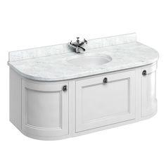 Vanity Units | Burlington 1340mm Wall Hung Bathroom Vanity Unit   Centre  Basin   White/