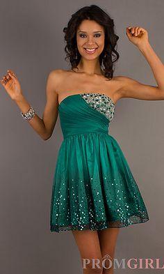 Short Strapless Dress  at PromGirl.com