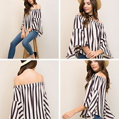 Multi Striped Off the Shoulder Bell Sleeve Top - Sm to Lg - $36 SALICE Winter Clearance in Effect  * All Jeans, Jude, Gretchen Scott 40% off * ALL Other Clothing ~ ALL BRANDS 30% off * Shoes, Hats & Scarves 50% off  Both Stores OPEN 10-6 Daily