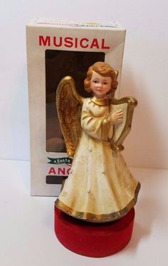 "Vtg Berman Anderson Musical Xmas Decoration Angel Silent Night Music Figurine 8"""