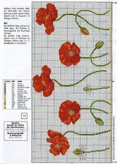 Resultado de imagen de free cross stitch patterns of poppies Cross Stitch Love, Cross Stitch Finishing, Cross Stitch Borders, Cross Stitch Flowers, Cross Stitch Charts, Cross Stitch Designs, Cross Stitching, Cross Stitch Embroidery, Embroidery Patterns