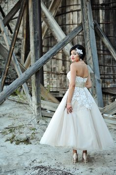Loving this tea length wedding dress in a soft champagne color   Wonderfully Cool Nelson Nevada Ghost Town Elopement Wedding   Photograph by Jamie Y Photography  http://storyboardwedding.com/nelson-nevada-ghost-town-wedding/