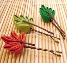 three seasons leaf kanzashi (hair accessories, pins, leaf, leaves, fabric, orange, green, brown)